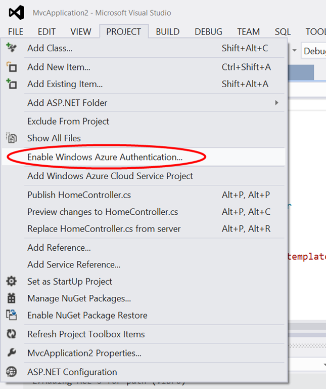 Microsoft ASP NET Tools for Windows Azure Active Directory – Visual